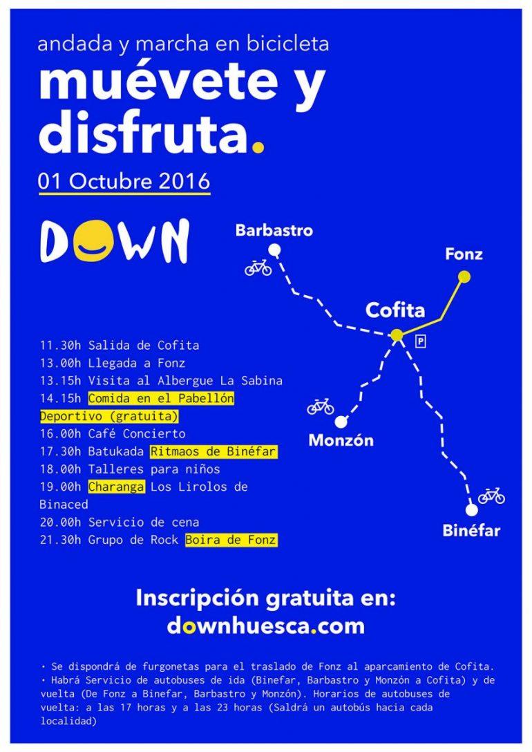 Abiertas las inscripciones de la I marcha popular del 1 de octubre entre Cofita a Fonz para celebrar los 25 años de Down Huesca