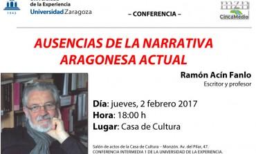 Ramón Acín revisa en Monzón la trayectoria de los grandes narradores aragoneses contemporáneos desaparecidos