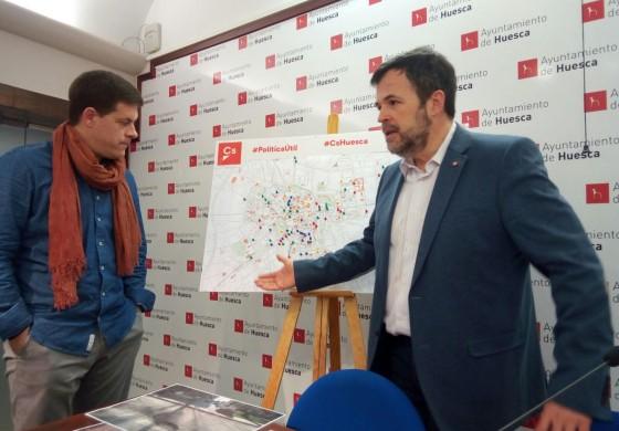 Ciudadanos localiza  73 incidencias en más de medio centenar de calles de Huesca que necesitan una reparación urgente