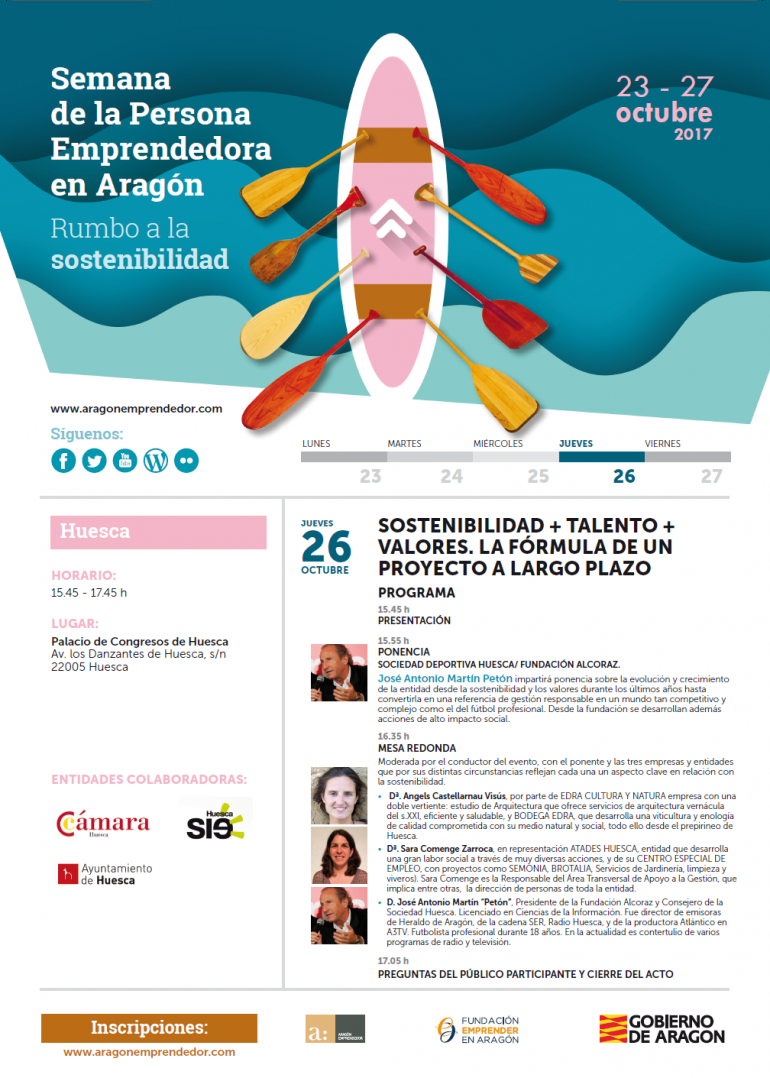 La S. D. Huesca, Atades y Edra Arquitectura expondrán en el SIE Huesca su experiencia en torno a la sostenibilidad, el talento y los valores