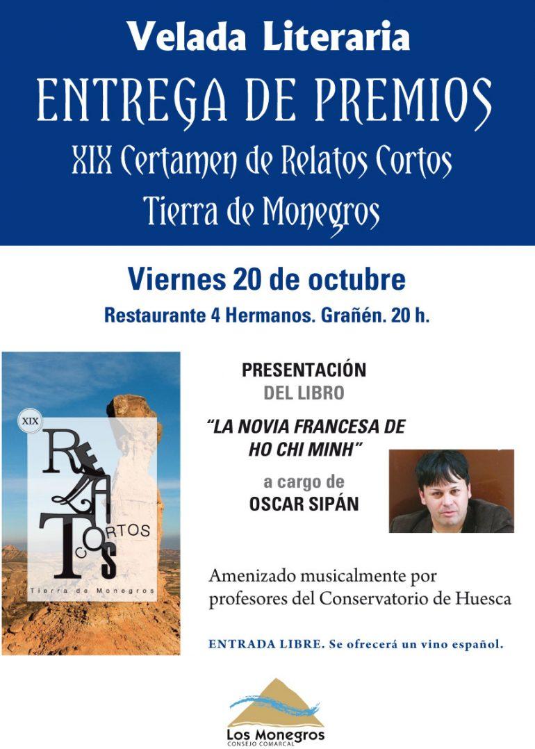 """El próximo 20 de octubre tendrá lugar en Grañén la entrega de premios del XIX Certamen de Relato Corto """"Tierra de Monegros"""""""
