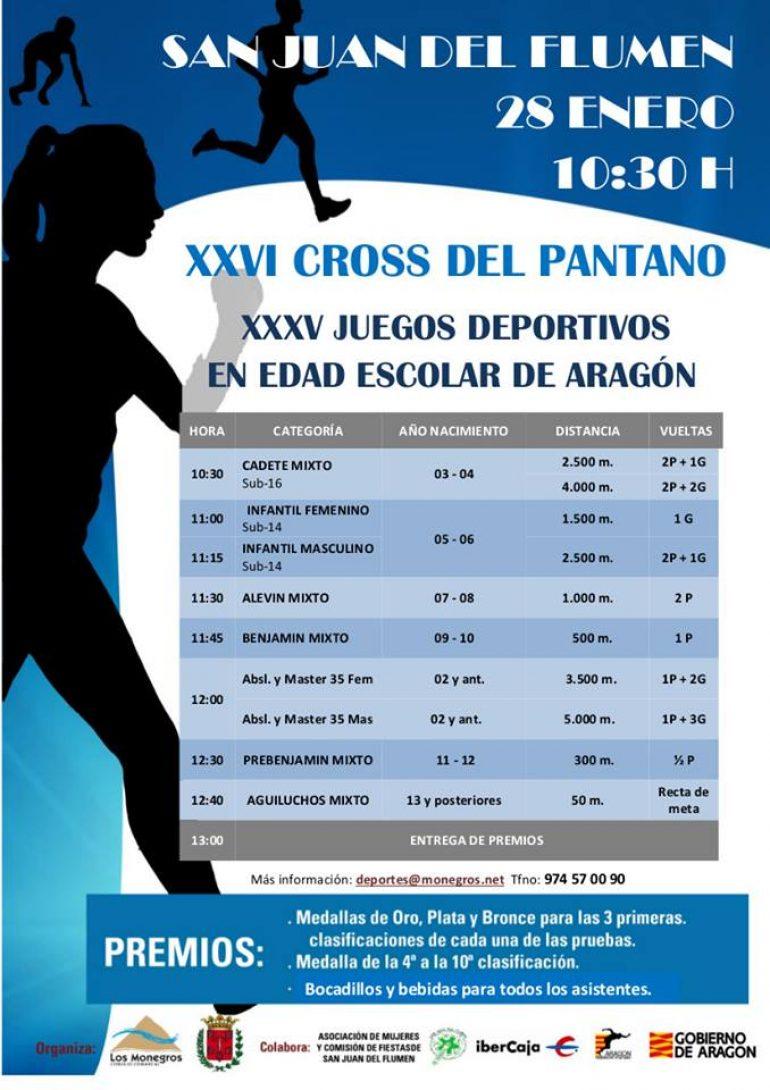 El XXVI Cross del Pantano tendrá lugar el próximo domingo 28 de enero en San Juan del Flumen