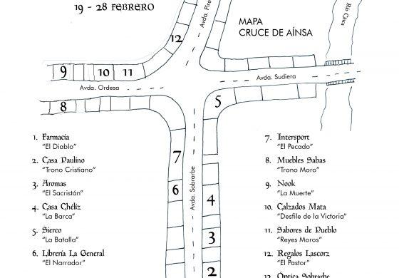 Los escaparates de comercios de Aínsa 'enmarcan' fotografías de La Morisma