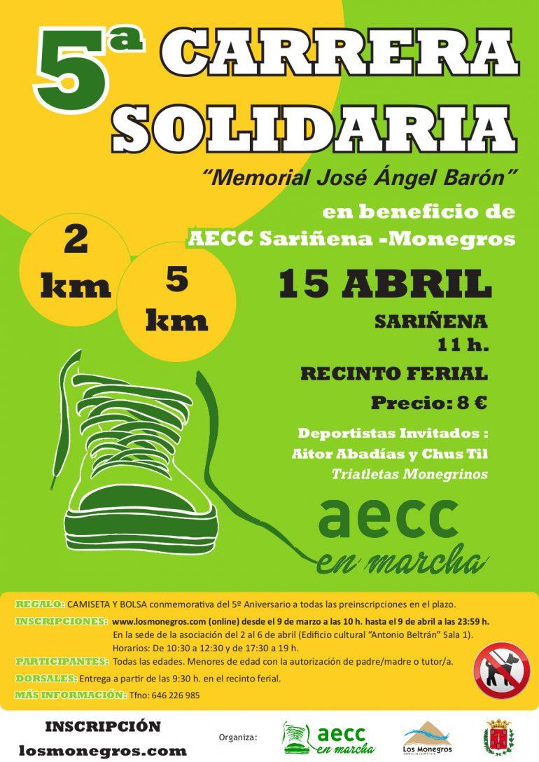 Plazo abierto para inscribirse a la V Carrera Solidaria en beneficio de la Asociación contra el Cáncer Sariñena-Monegros