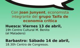 El economista Joan Junyent analiza en Huesca el sistema de pensiones, sus perspectivas y las alternativas para su gestión