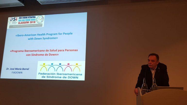 El presidente del Colegio Médico de Huesca José Borrel presenta el 'Programa Iberoamericano de Salud para personas con Síndrome de Down' en el congreso mundial de Glasgow