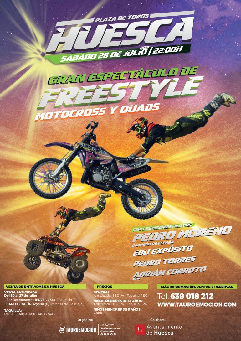Tauroemoción programa el espectáculo Freestyle motocross y quads en Huesca como previa a la feria taurina