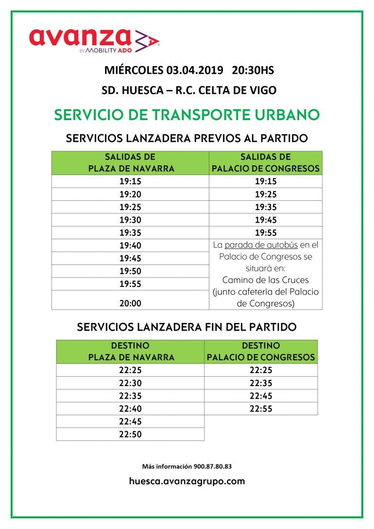 Servicio especial de autobuses con motivo del partido entre la SD Huesca y el R.C. Celta de Vigo