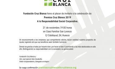 Premios Cruz Blanca 'A la Responsabilidad Social Corporativa', el 21 de noviembre a las 19 horas en la Casa Familiar San Lorenzo de Huesca